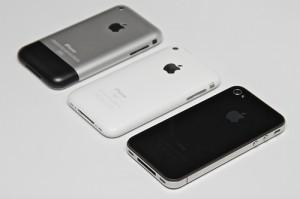 Afbeelding van de iPhone original, iPhone 3G en iPhone 4